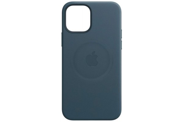 Large image of Apple iPhone 12 And iPhone 12 Pro Baltic Blue Leather Case With MagSafe - MHKE3ZM/A