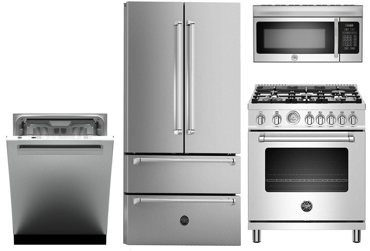 Bertazzoni 4 Piece Stainless Steel Kitchen Appliance Package