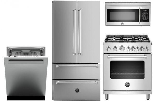 Bertazzoni 4-Piece Stainless Steel Kitchen Appliance Package - BERTPACK1