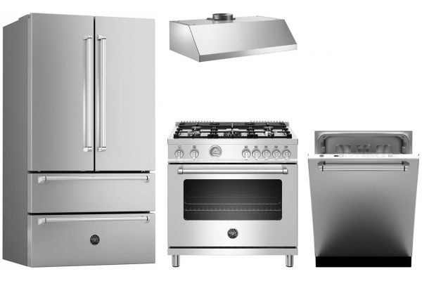 Large image of Bertazzoni 6-Piece Stainless Steel Kitchen Appliance Package - BERTPACK4