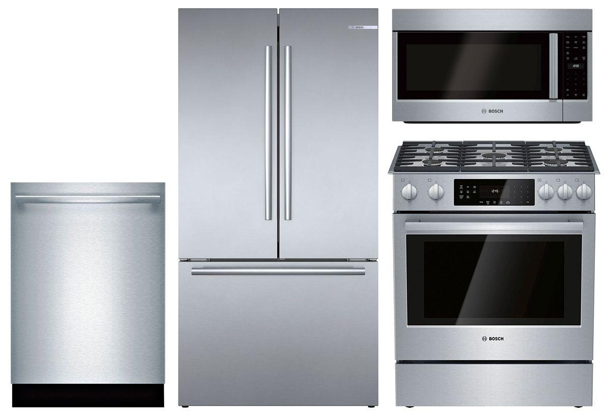 Bosch Stainless Steel Refrigerator Dishwasher Microhood
