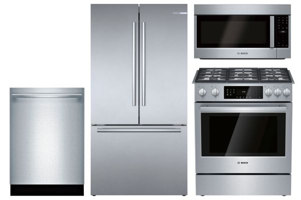Bosch Stainless Steel Refrigerator, Dishwasher, Microhood Appliance Package with Gas Range - BOSCPACK4
