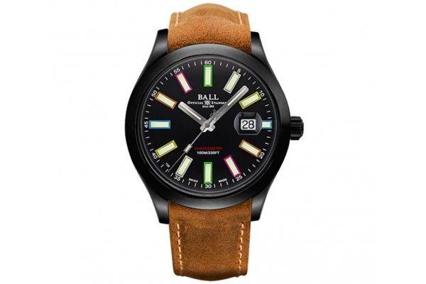 Large image of Ball Engineer II Rainbow Black Titanium Watch, Nubuck Leather Strap, 43mm - NM2028C-L28CJ-BK