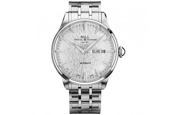 Large image of Ball Trainmaster Eternity Stainless Steel Watch, Silver Dial, 39.5mm - NM2080D-S1J-SL