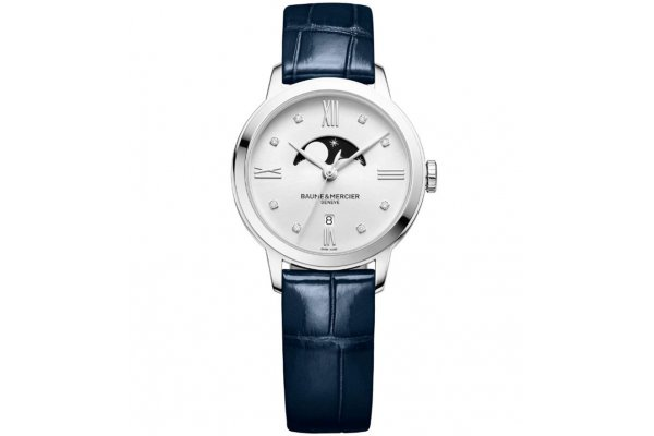 Large image of Baume & Mercier Classima Blue Moon Phase Dial Watch, Blue Alligator Strap, 31mm - MOA10329