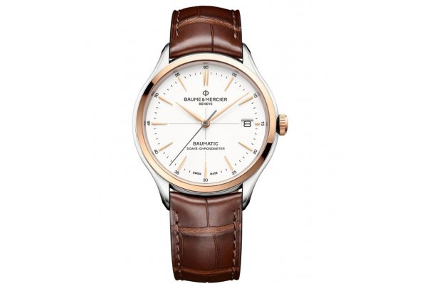 Large image of Baume & Mercier Clifton Baumatic 10519 Automatic White Dial, Red-Brown Strap Watch, 40mm - M0A10519
