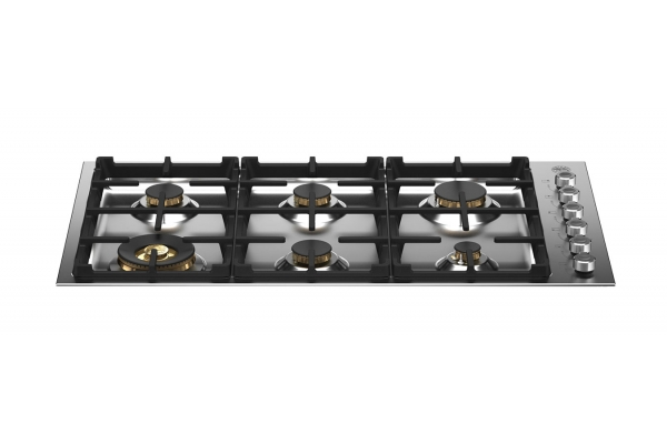 """Large image of Bertazzoni 36"""" Professional Series Stainless Steel Drop-In Gas Cooktop With 6 Brass Burners - PROF366QBXT"""