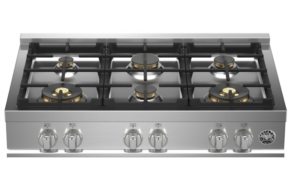 "Large image of Bertazzoni 36"" Master Series Stainless Steel Gas Rangetop - MAST366RTBXT"