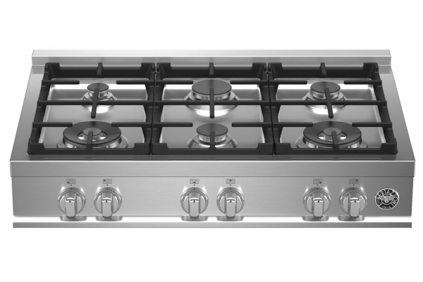 "Large image of Bertazzoni 36"" Master Series Stainless Steel Gas Rangetop - MAST366RTXE"
