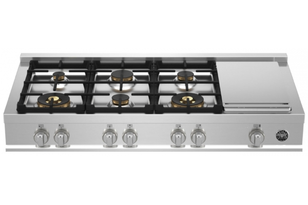 """Large image of Bertazzoni 48"""" Master Series Stainless Steel Gas Rangetop With Electric Griddle - MAST486GRTBXT"""