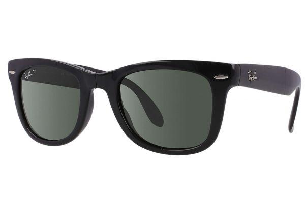 Large image of Ray-Ban Folding Wayfarer Black Polarized Unisex Sunglasses - RB4105 601 58-22