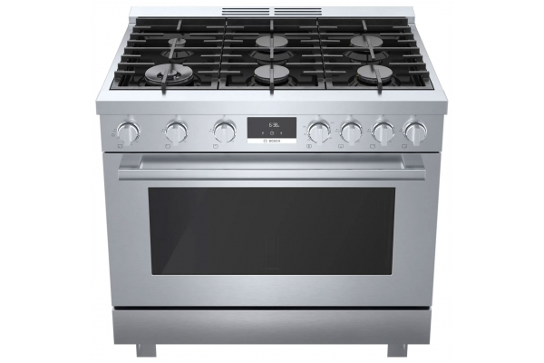 """Large image of Bosch 800 Series 36"""" Stainless Steel Industrial-Style Gas Range - HGS8655UC"""