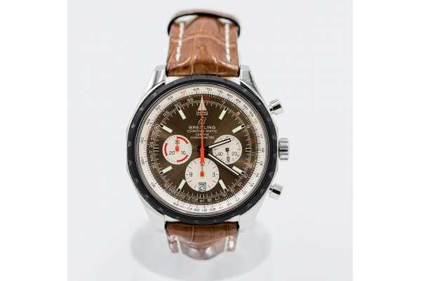 Large image of Breitling Chrono-Matic Pre-Owned Brown Leather Watch, Brown Dial, 49mm - WTSBRC1