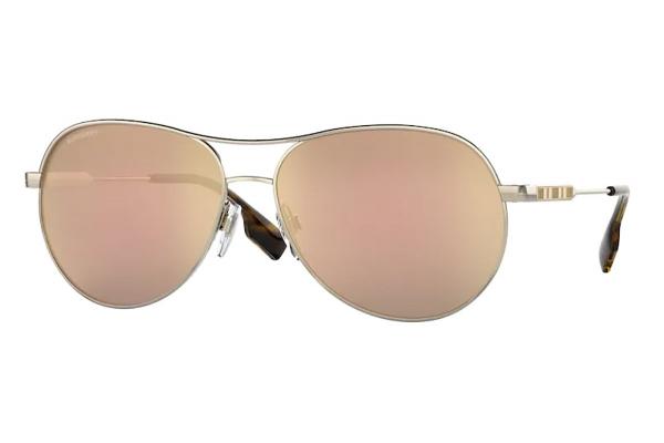 Large image of Burberry Aviator BE3122 Tara Sunglasses, Brown/Rose Gold Mirror Lenses, 59mm - BE312211097J59