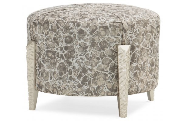 Large image of Caracole Upholstery Chiseled Dusty Silver Ottoman - M090-018-052-A