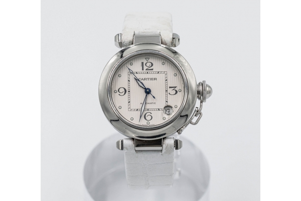 Large image of Cartier Pasha Pre-Owned White Leather Strap Watch - CRTSP111