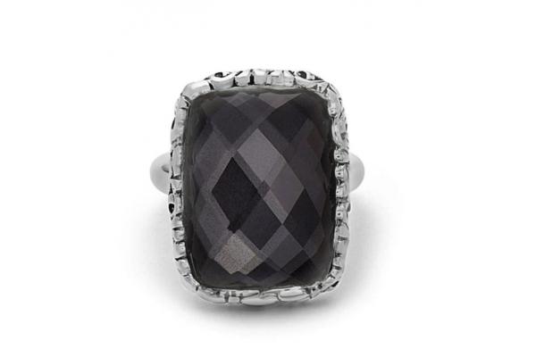 Large image of Charles Krypell Silver Skye Hematite Cushion Ring - 36958HEM