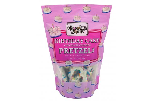 Large image of Chocolate Works 7oz. Chocolate Covered Birthday Cake Pretzels - BCP