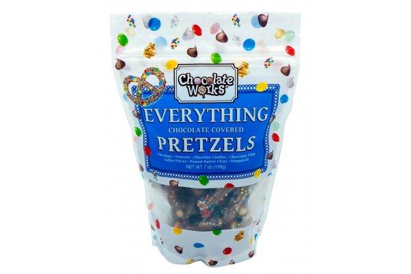 Large image of Chocolate Works 7oz Chocolate Covered Everything Pretzels - EVP