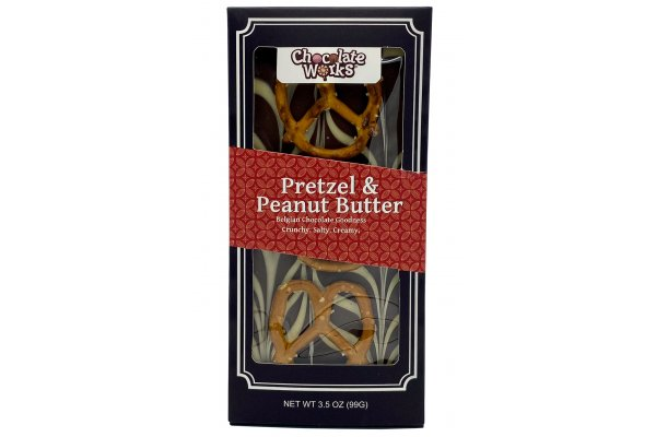 Large image of Chocolate Works 3.5 oz. Pretzel & Peanut Butter Chocolate Bar - CB-PBP