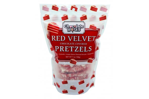 Large image of Chocolate Works 7oz. Chocolate Covered Red Velvet Pretzels - RVP