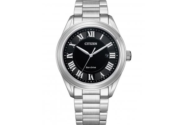 Large image of Citizen Arezzo Silver-Tone Stainless Steel Bracelet, Black Dial Watch, 40mm - AW169051E