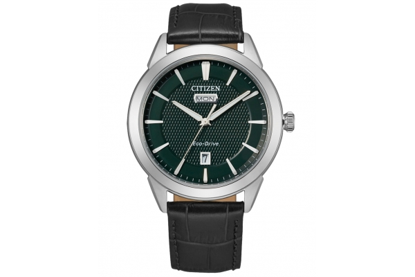 Large image of Citizen Corso Black Leather Watch, Green Dial, 40mm - AW009002X