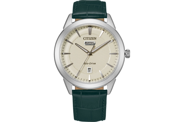 Large image of Citizen Corso Green Leather Watch, Ivory Dial, 40mm - AW009011Z