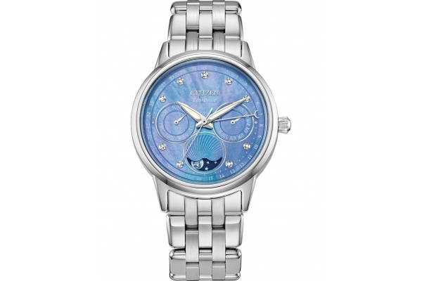 Large image of Citizen Calendrier Silver-Tone Stainless Steel Watch, Blue Dial, 37mm - FD000052N