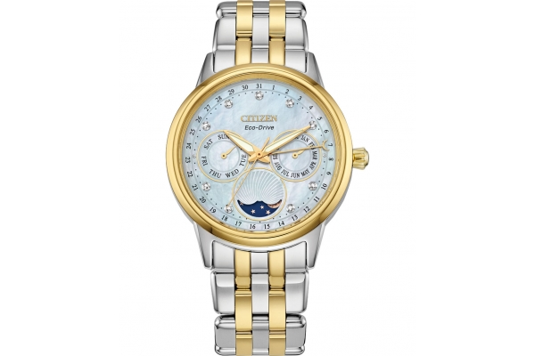 Large image of Citizen Calendrier Two-Tone Stainless Steel Watch, White MOP Dial, 37mm - FD000451D