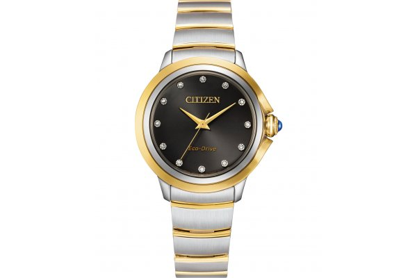 Large image of Citizen Ceci Two-Tone Stainless Steel Bracelet, Black Dial Watch, 32mm - EM095450E