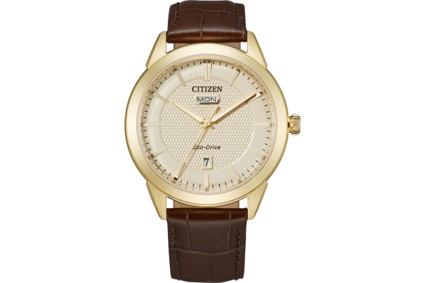 Large image of Citizen Corso Ash Brown Leather Watch, Champagne Dial, 40mm - AW009207Q