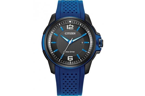 Large image of Citizen Drive Quartz Blue Polyurethane Watch, Black Dial, 45mm - AW165501E