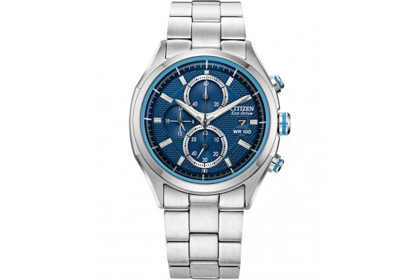 Large image of Citizen Drive Quartz Silver-Tone Watch, Blue Dial, 41mm - CA043054M