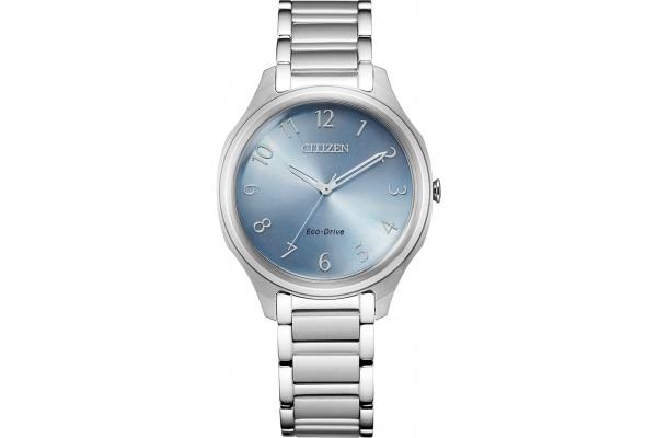 Large image of Citizen Drive Quartz Stainless Steel Watch, Light Blue Dial, 35mm - EM075050L