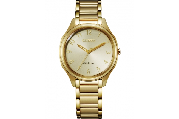 Large image of Citizen Drive Gold-Tone Stainless Steel Bracelet Watch, Champagne Dial, 35mm - EM075254P