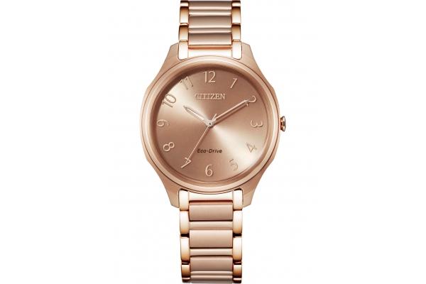 Large image of Citizen Drive Rose Gold-Tone Bracelet Watch, Blush Pink Dial, 35mm - EM075858X