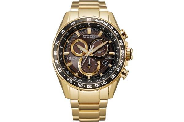 Large image of Citizen PCAT Quartz Chronograph Gold-Tone Stainless Steel Watch, Black Dial, 43mm - CB591250E
