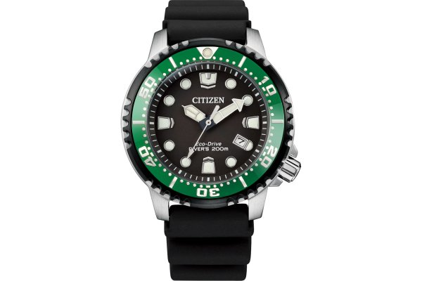 Large image of Citizen Professional Diver Stainless Steel Watch, Black Dial, 42mm - BN015508E