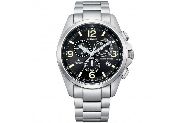 Large image of Citizen Promaster Land Silver-Tone Stainless Steel Watch, Black Dial, 45mm - CB592159E