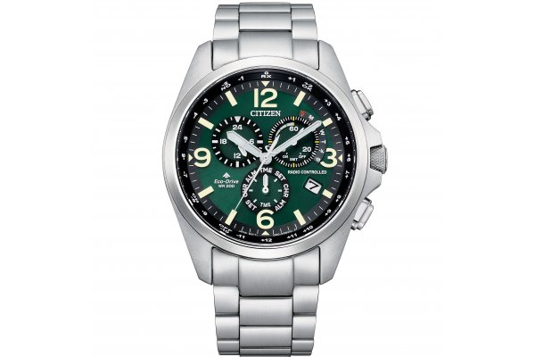 Large image of Citizen Promaster Land Silver-Tone Stainless Steel Watch, Green Dial, 45mm - CB592159X