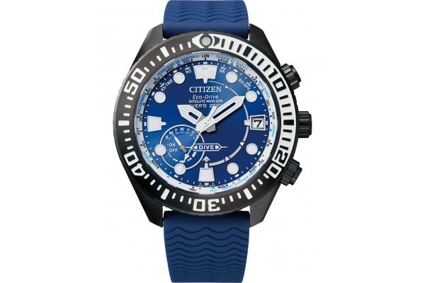 Large image of Citizen Satellite Wave GPS Diver Blue Dial Watch, Blue Strap 47mm - CC500606L