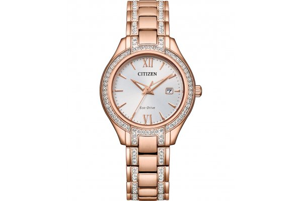 Large image of Citizen Silhouette Crystal Pink-Gold Stainless Steel Bracelet, Silver-Tone Dial Watch, 30mm - FE123352A