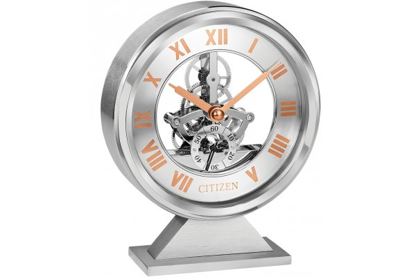 Large image of Citizen Brushed Silver-Tone Decorative Skeleton Clock - CC1027