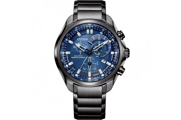 Large image of Citizen Sport Luxury Chronograph Grey Stainless Steel Watch, Blue Dial, 43mm - BL560754L