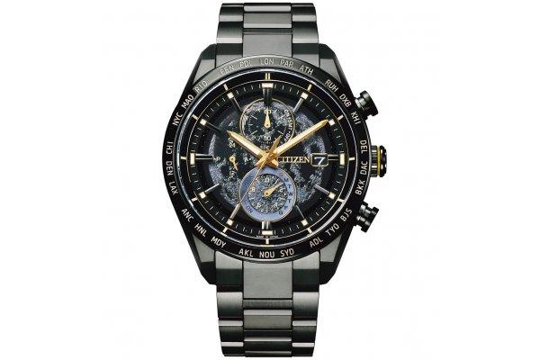 Large image of Citizen Super Titanium Hakuto-R Limited Edition Chrono Black Dial Watch, 42mm - AT818571E