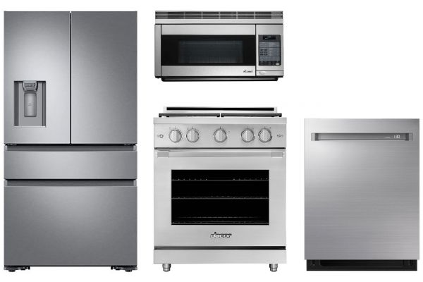 """Large image of Dacor 36"""" Silver French Door Refrigerator with Gas Range Package - DACOPACK3"""