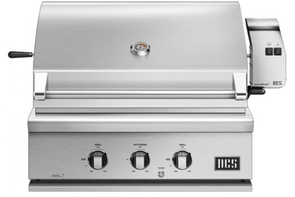 """Large image of DCS 30"""" Brushed Stainless Steel Traditional Built-In Liquid Propane Gas Grill With Rotisserie - BH1-30R-L"""