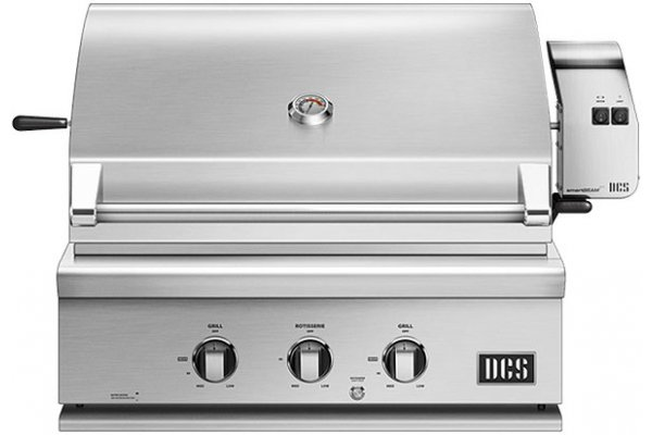 """Large image of DCS 30"""" Brushed Stainless Steel Traditional Built-In Natural Gas Grill With Rotisserie - BH1-30R-N"""