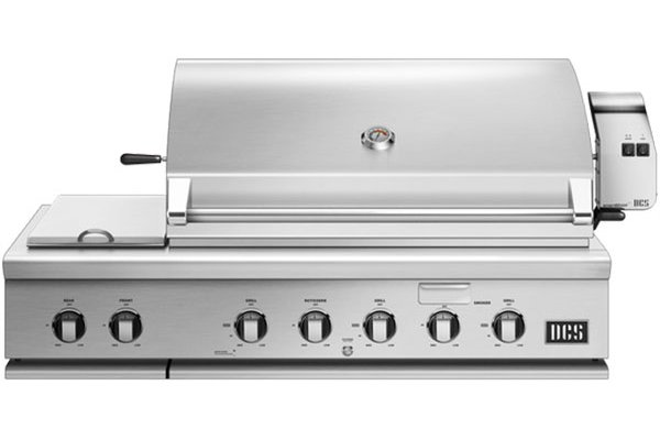 """Large image of DCS 48"""" Stainless Steel Built-In Liquid Propane Gas Grill With Rotisserie And Side Burners - BH1-48RS-L"""